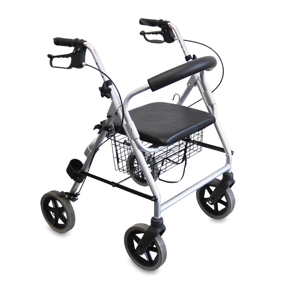 Der leichtgewichtige Rollator mit praktischem Einkaufskorb kann sowohl im Innen- als auch im Außenbereich genutzt werden.