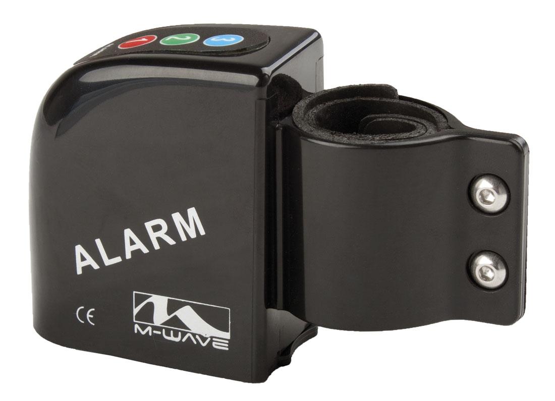 Die Fahrrad-Alarmanlage mit 3 Code-Tasten und Halterung für 25-30 mm Rohrdurchmesser.