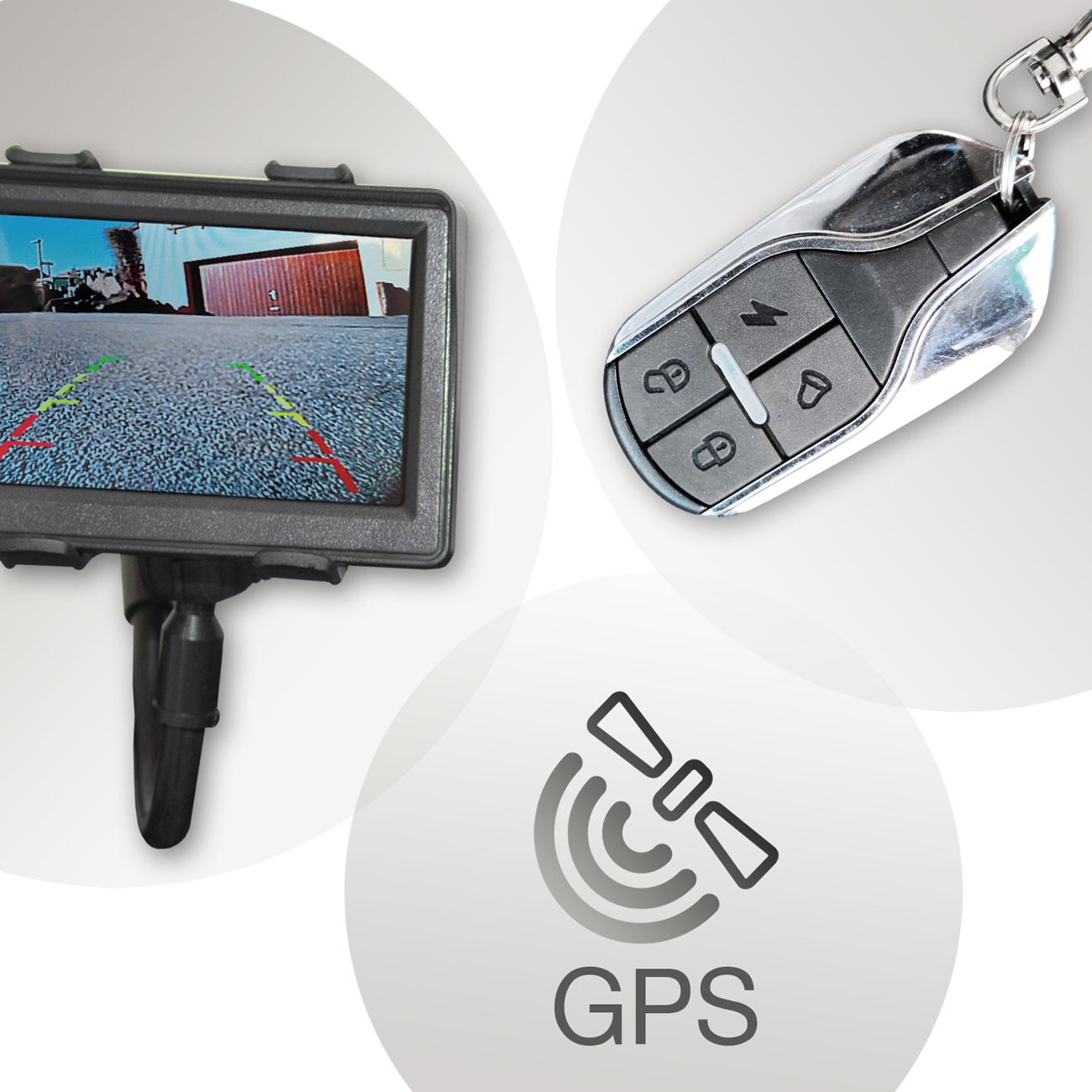 Das 3-teilige Sicherheitspaket besteht aus Rückfahrkamera, GPS-Sender und Funk-Fernbedienung für die Alarmanlage.
