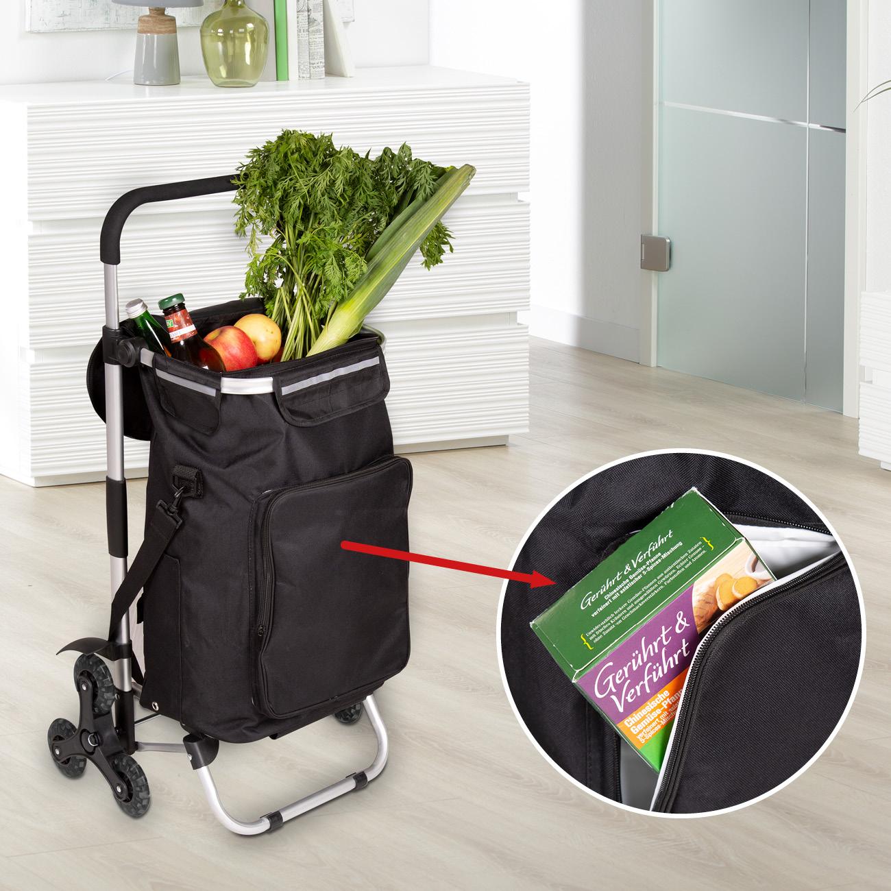 Treppensteiger-Einkaufsroller »Premium«, mit praktischer Themo-Isolierter Vordertasche und Reflektorstreifen am oberen Taschenrand für bessere Sichtbarkeit in der Dunkelheit.