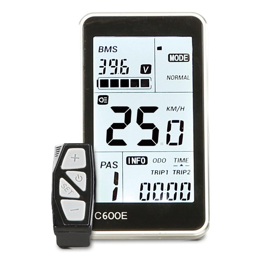 Das Premium LCD-Komfort-Display mit der Anzeige von: Akku-Ladezustand, 9 Motorunterstützungsstufe, Geschwindigkeit, verschiedene Distanzen, Zeit, Anfahr- und Schiebehilfe.