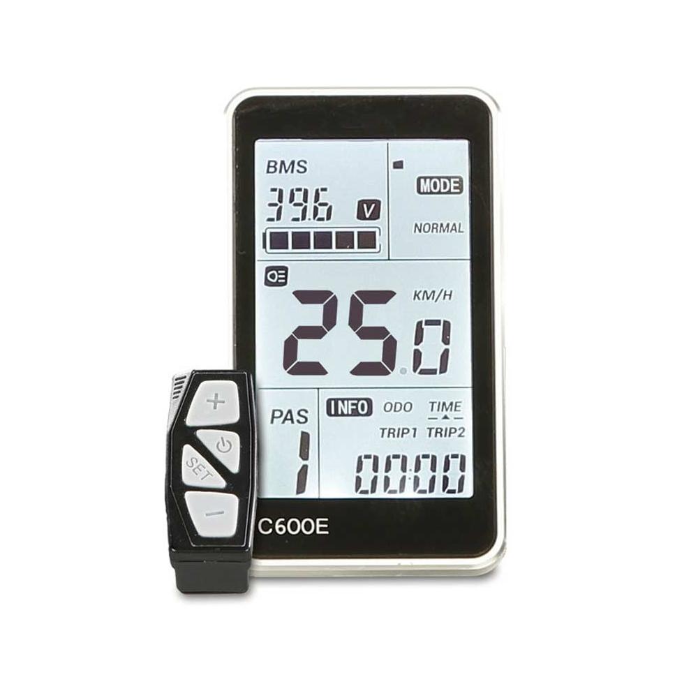 Das übersichtliche Premium LCD-Komfort-Display mit zuschaltbarer Hintergrundbeleuchtung zeigt Geschwindigkeit, Motorunterstützungsstufe, Distanzen, Zeit, Anfahr- und Schiebehilfe sowie Akkuladezustand.
