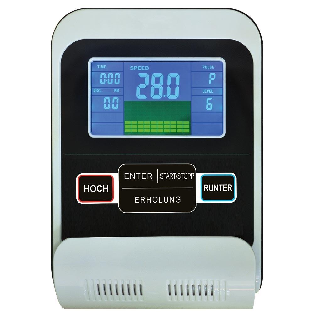 Der bedienfreundliche Trainingscomputer mit großem Display ermöglicht eine übersichtliche, einfache Bedienung.