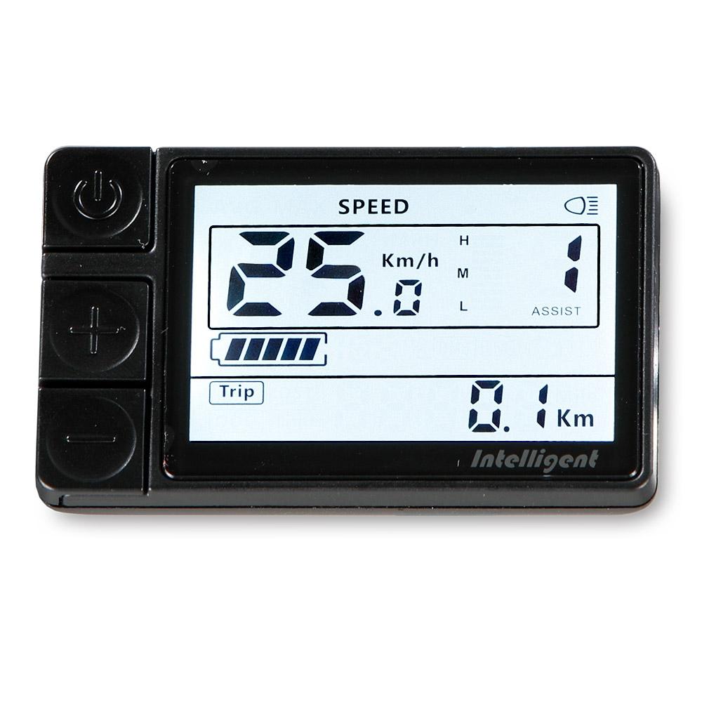 Die Motorleistung der 7-Gang-Version regeln Sie ganz einfach über das Komfort-LCD-Display am Lenker, welches Ihnen neben dem Kilometerstand und der Geschwindigkeit auch den Ladestand anzeigt.