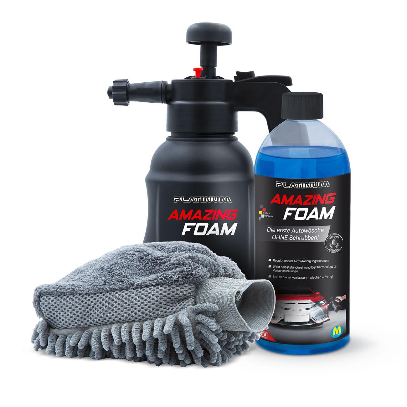 Platinum Amazing Foam mit Fertiglösung, Sprühflasche und Reinigungshandschuh.