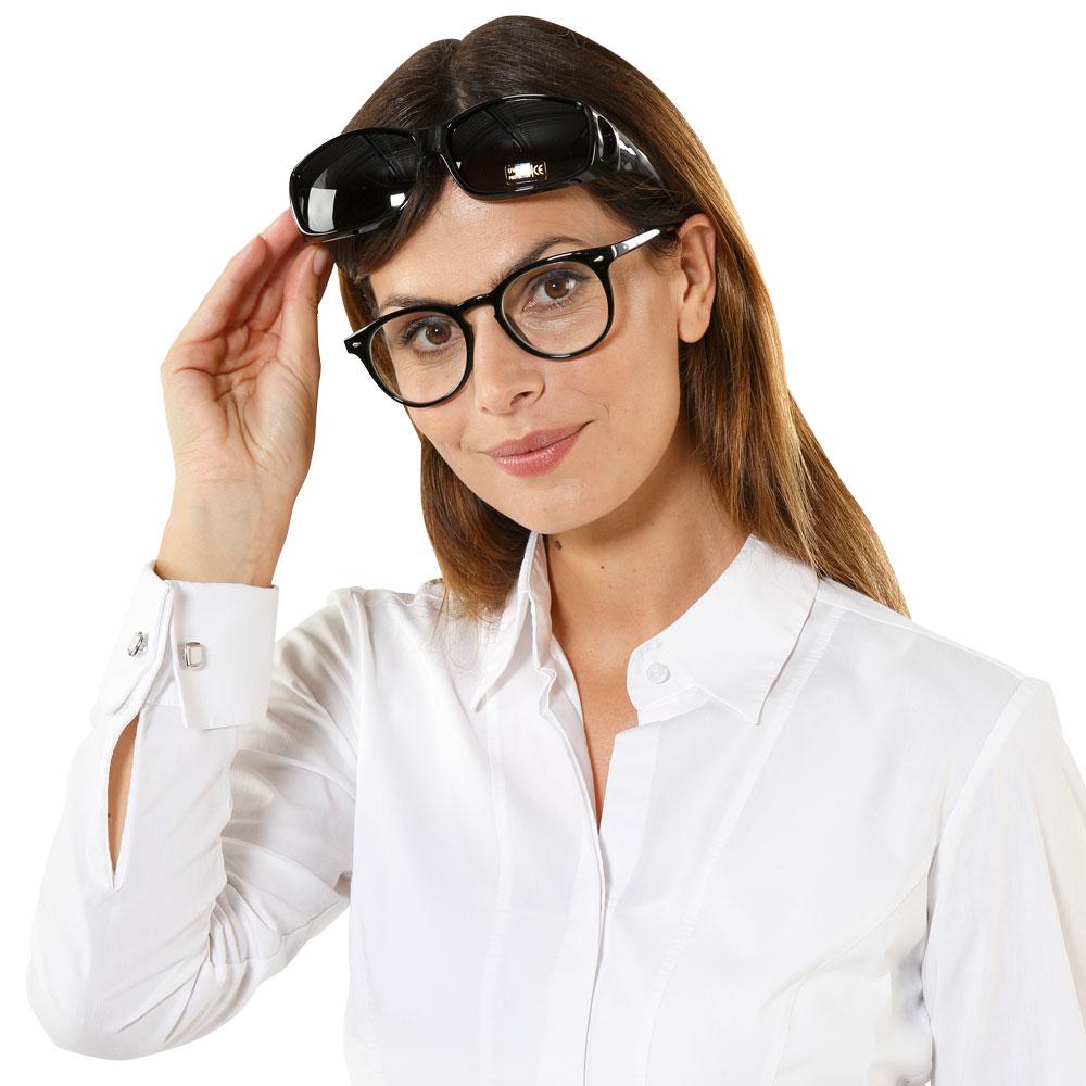 Die Überbrille ist optimal für Brillenträger, ohne ständiges Wechsel von Brille und Sonnenbrille mit Sehstärke.