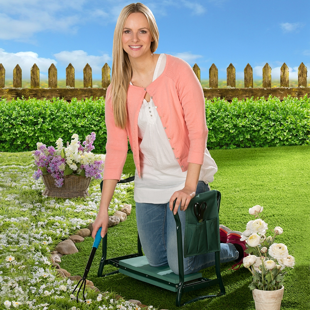 Entspannt knien und einfach aufstehen bei der Gartenarbeit.