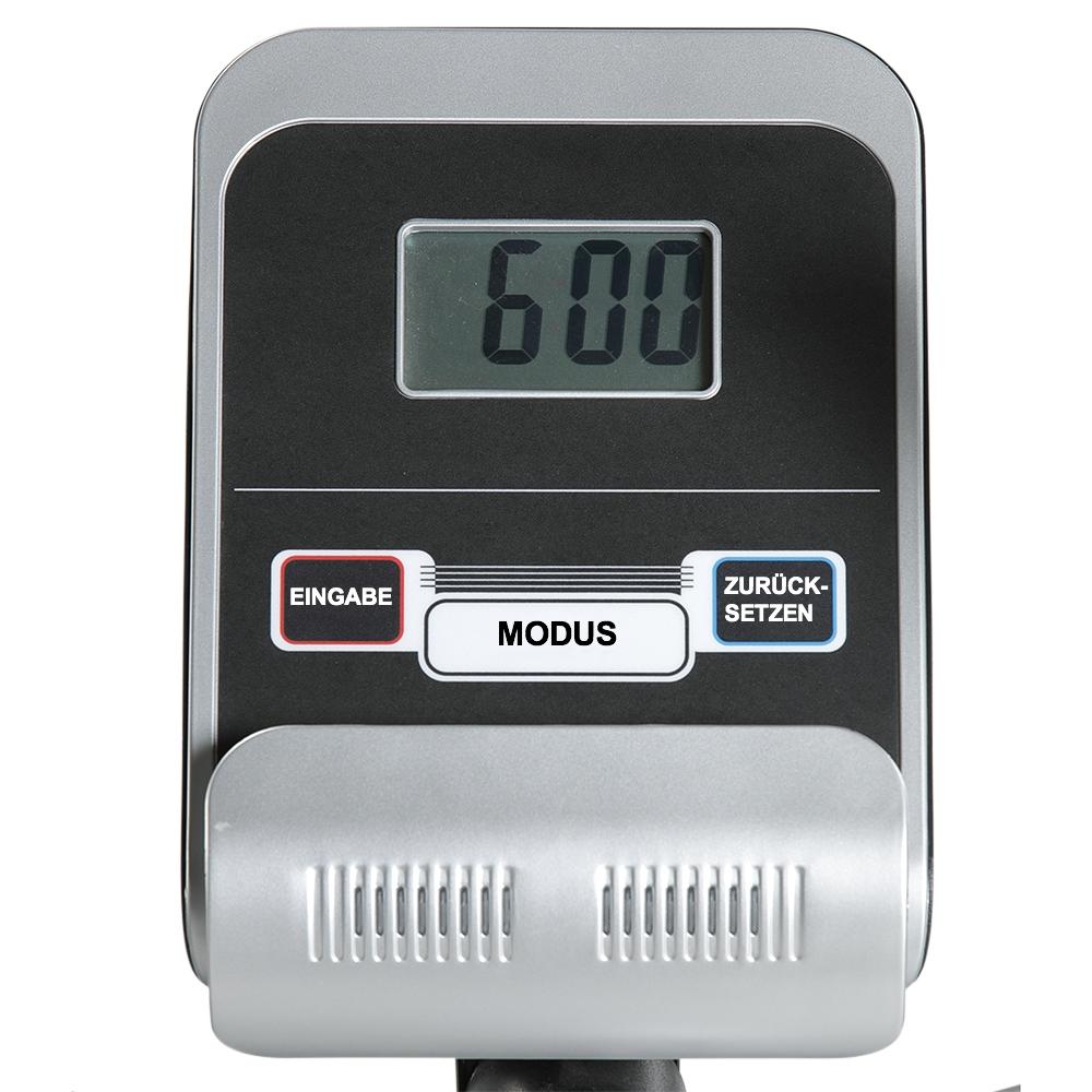 Der benutzerfreundliche Trainingscomputer mit Scan-Funktion zeigt Zeit, Geschwindigkeit, Entfernung, Kalorien, Gesamt-Entfernung, Herzfrequenz