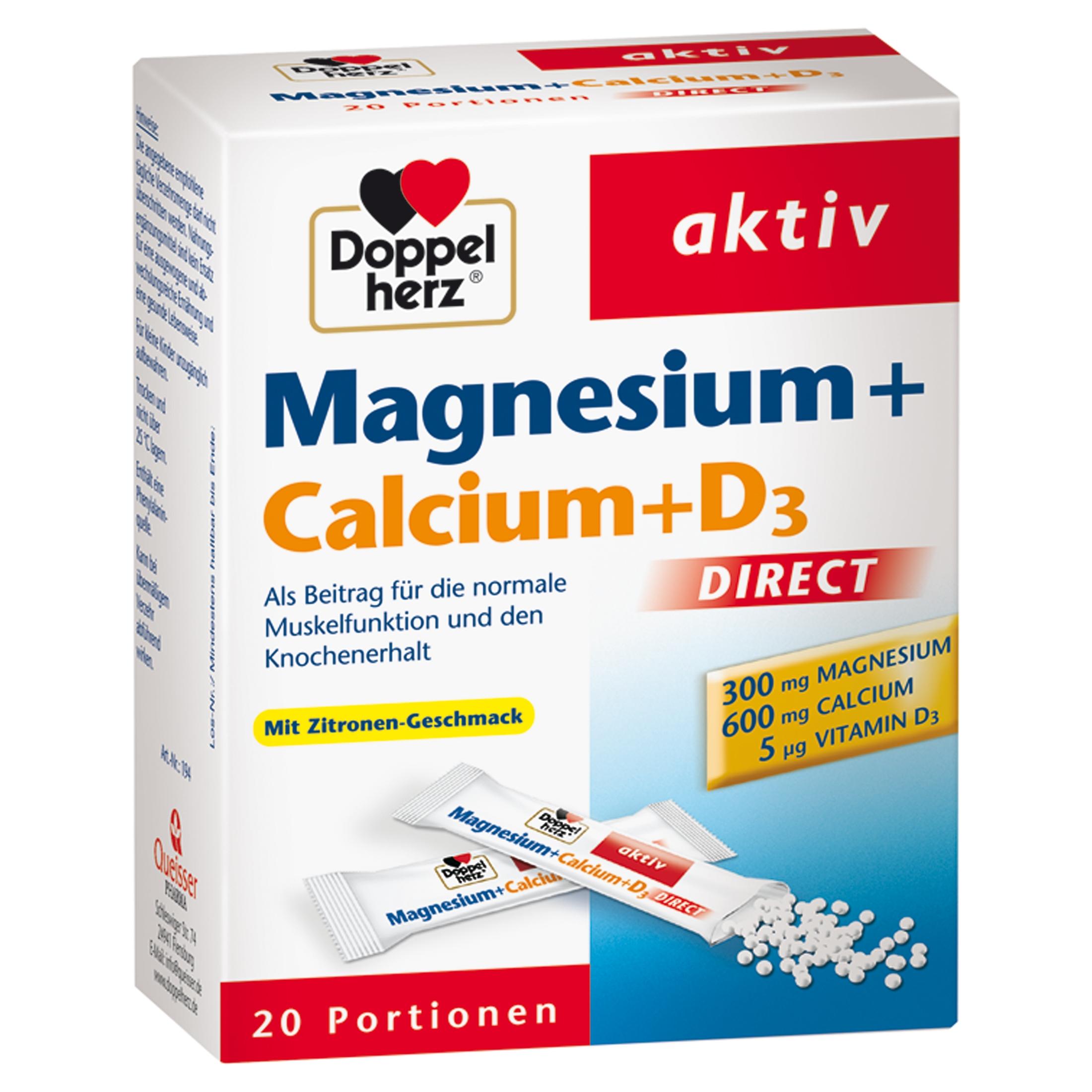 Doppelherz Magnesium+Calcium+D3 Direct Pellets 20 St