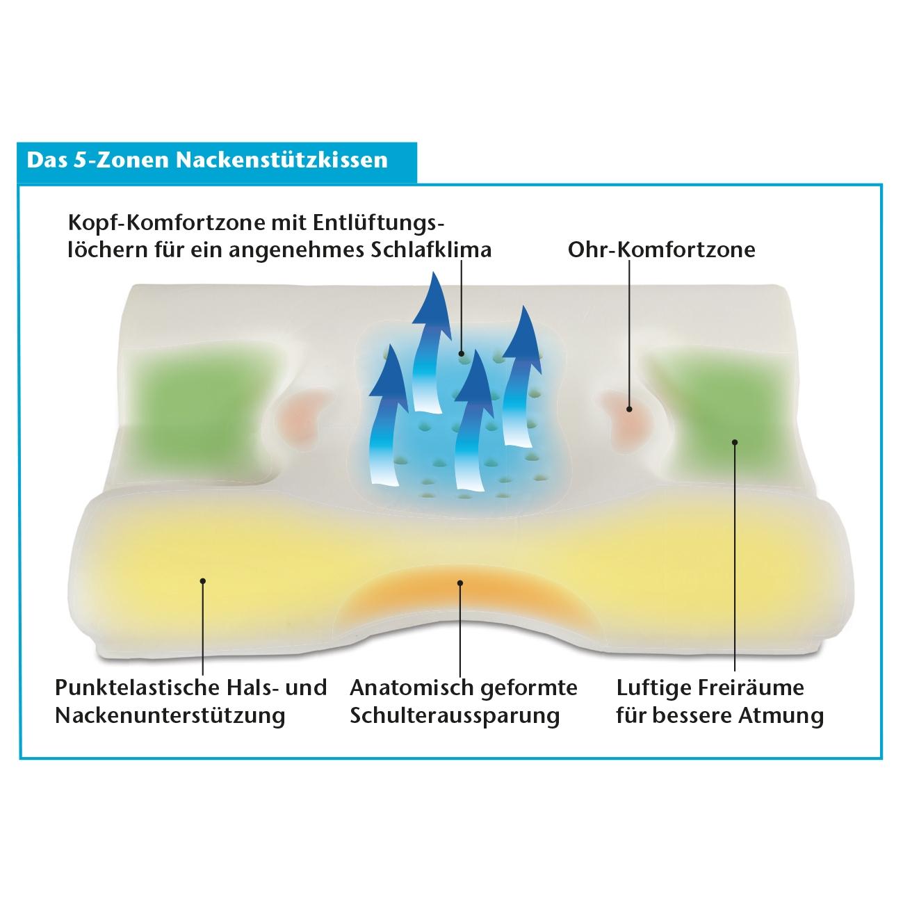 Das orthopädische 5 Zonen Nackenstützkissen.