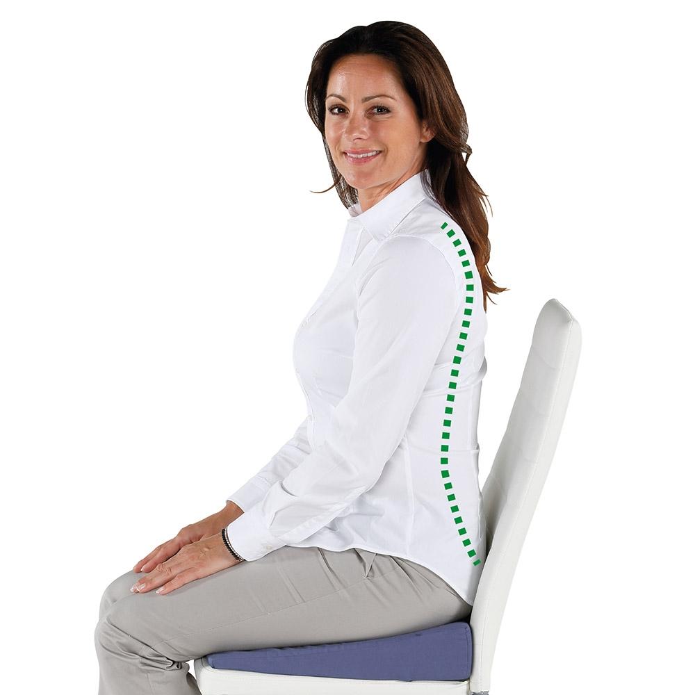 Fördert eine aufrechte Sitzhaltung und entlastet die Bandscheiben.