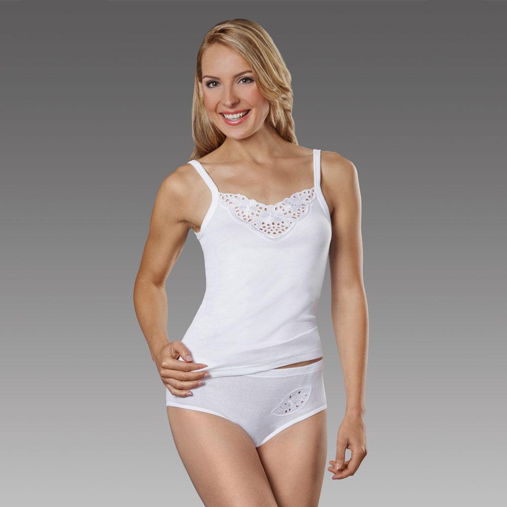 Das klassisch feminine Trägerhemd mit besonderer Formstabilität für langen Tragekomfort.