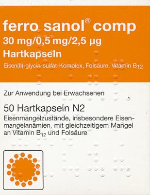 Ferro Sanol comp. Hartkaps.m.msr.überz.Pellets 50 St