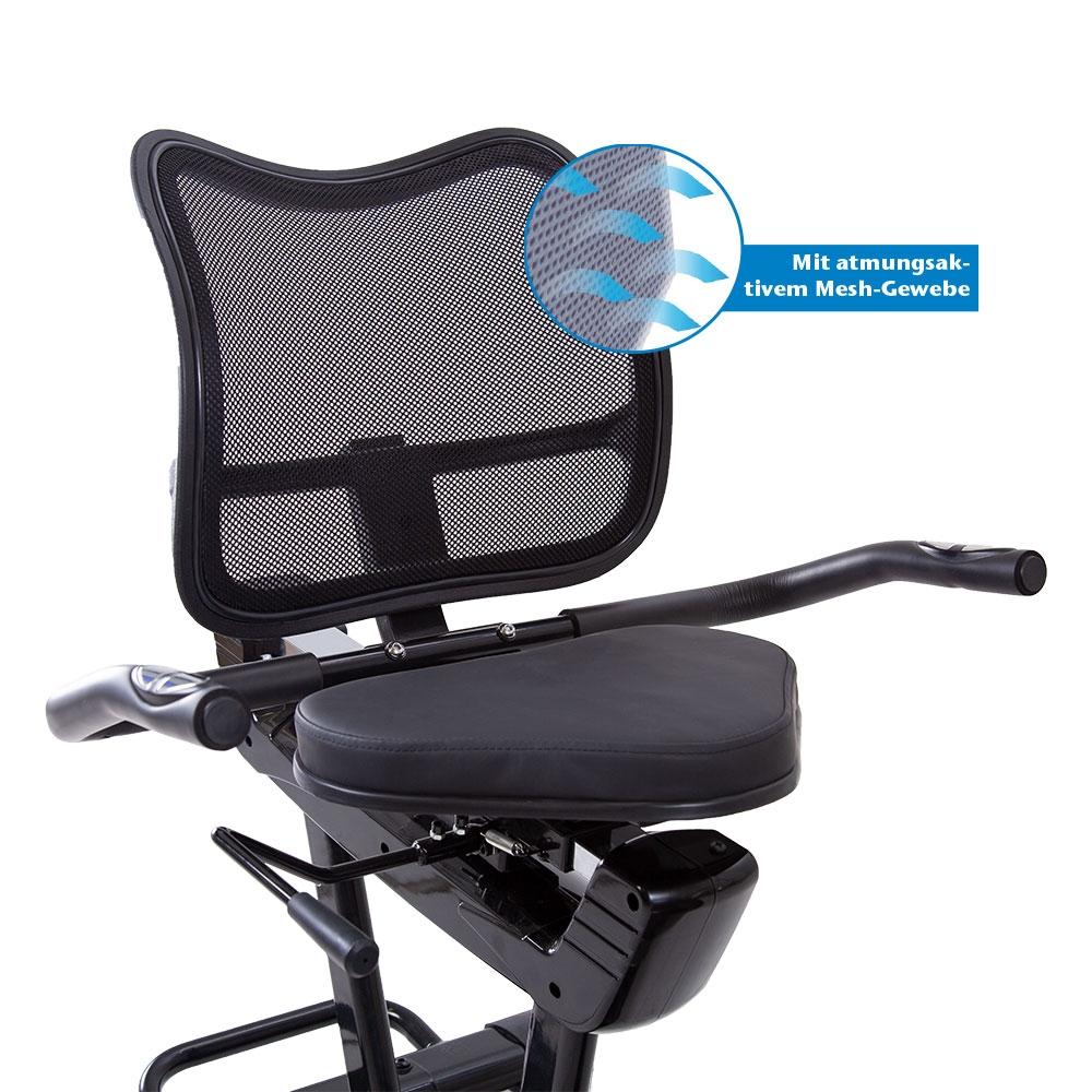 Auf dem breiten Sitz können Sie bequem Platz nehmen und sich zur Entlastung des Rückens und der Wirbelsäule an die Rückenstütze anlehnen.