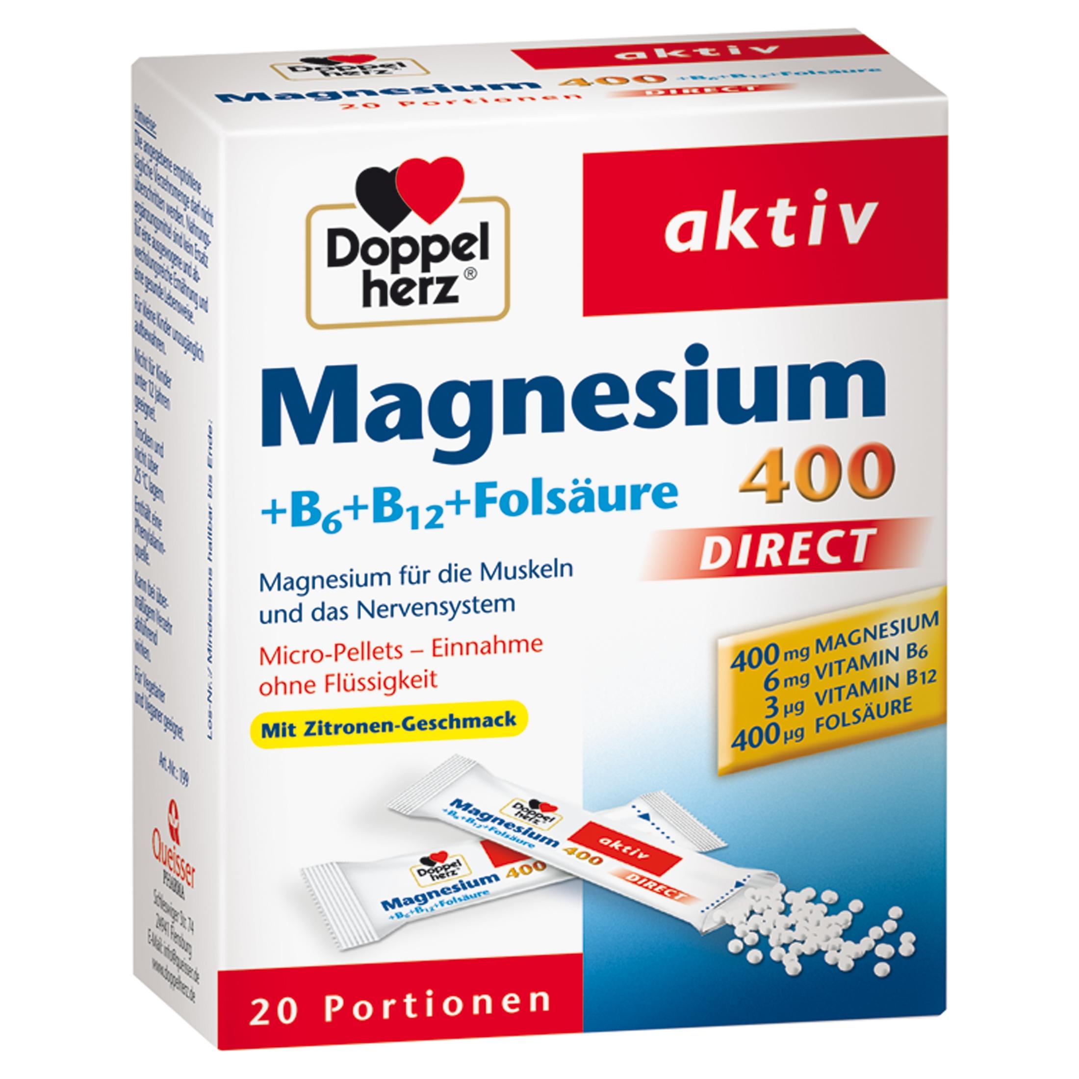 Doppelherz Magnesium+B Vitamine Direct Pellets 20 St