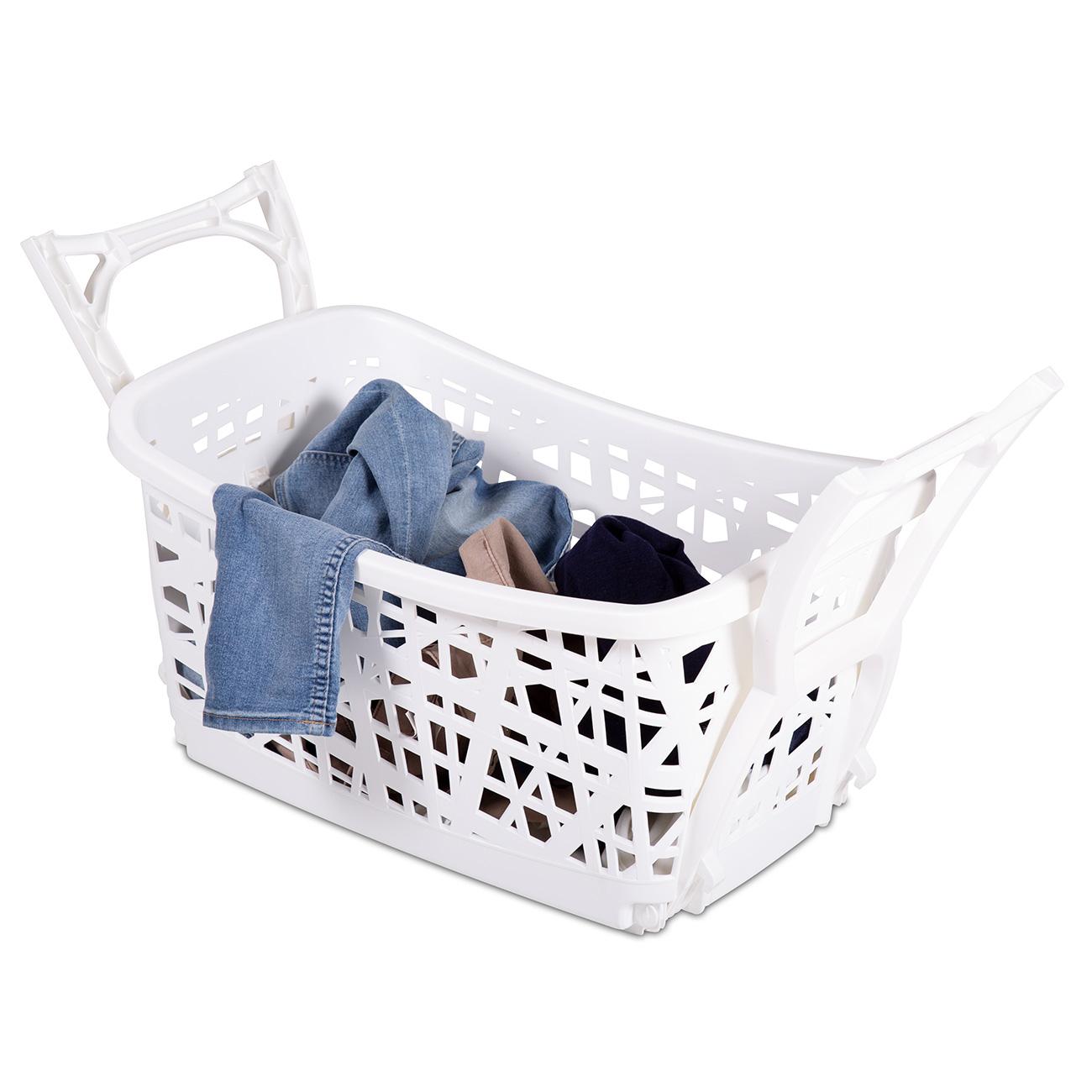 Der praktische Wäschekorb mit Beinen bietet viel Platz für Ihre Wäsche.