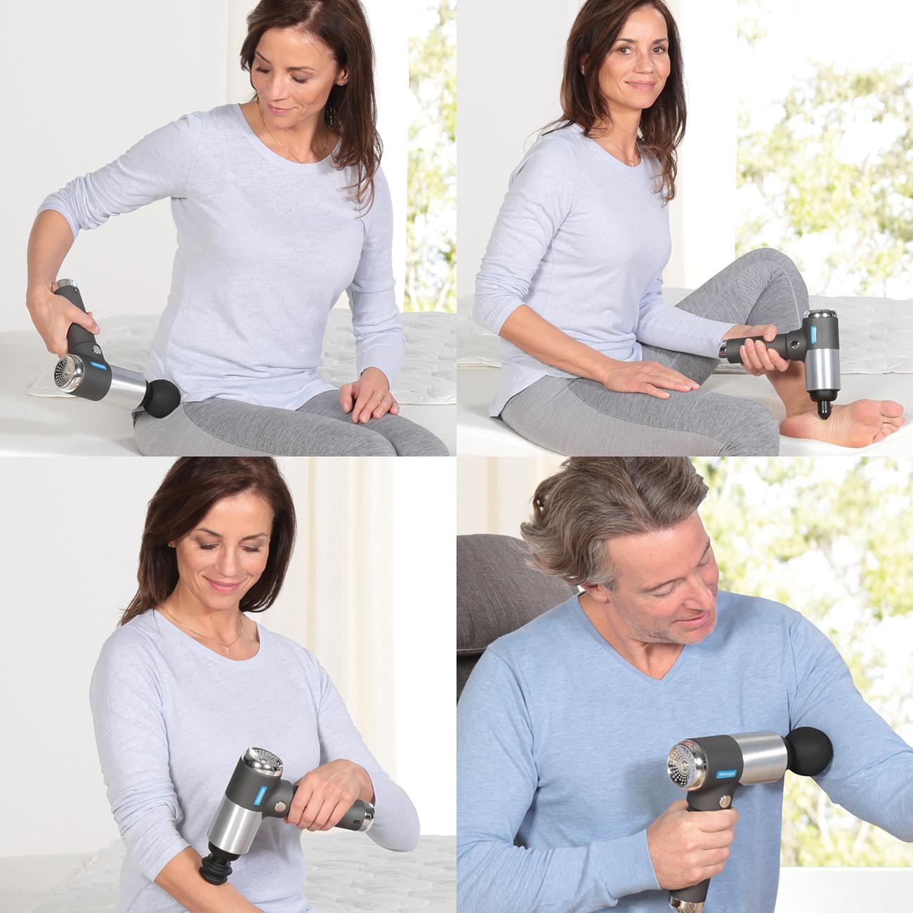Einfache und komfortable Selbstmassage mit 6 verschiedenen Massageaufsätzen.